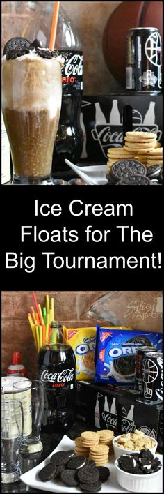 Here's a fun and tasty Tourney Time snack! Ice Cream Floats with Coke Zero and OREOs! Let the games begin! #GreatTasteTourney #ad #IceCream