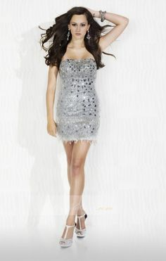 Column/Sheath Strapless Mini/Short Sequined Net Cocktail Dress - Cocktail Dresses - Beloveddress