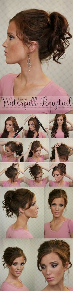 waterfall ponytail tutorial with clip on medium hair extensions