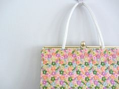 Spring floral purse . 1950s handbag . embroidered 50s purse on Etsy, $38.00
