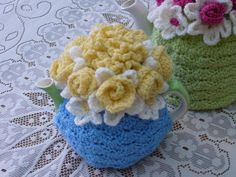 2-Cup Crochet Tea Cosy/ Tea Cozy/ Cosy/ Cozy - Blue with Yellow Flowers (Made to order)