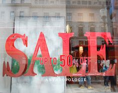 """Anthropologie, """"letter-block SALE concept"""", pinned by Ton van der Veer. Attracts attention"""