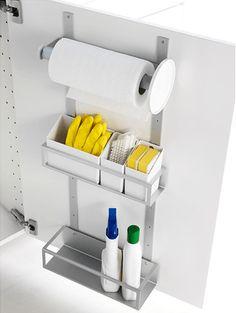 under sink cabinet storage IKEA (note: use roll holder for trash bags) Kitchen Organisation, Kitchen Cabinet Storage, Kitchen Doors, Storage Cabinets, Diy Kitchen, Home Organization, Kitchen Design, Kitchen Sink, Kitchen Cabinets