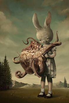 Cute and creepy illustrations by Roby Dwi Antono Roby Dwi Antono, lowbrow art, pop surrealism Arte Horror, Horror Art, Fantasy Kunst, Fantasy Art, Arte Grunge, Arte Peculiar, Mark Ryden, Lowbrow Art, Wow Art