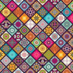 Mandala / Wall Decor / Wallcovering / Non Woven Wallpaper / Wall Mural / Traditional Wallpaper / 125 W x 240 H cm Mandalas Drawing, Mandala Art, Diy Collage, Textures Patterns, Print Patterns, Tribal Patterns, Style Boho, Boho Stil, Arabesque