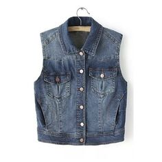 Loose Lapel Single Breasted Sleeveless Denim Vest (€36) ❤ liked on Polyvore featuring outerwear, vests, denim vest, blue vest, sleeveless waistcoat, blue waistcoat and sleeveless denim vest