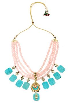 Necklaces, Accessories, Carma, Gold finish kundan studded crescent pendant pink and turquoise stones haar ,