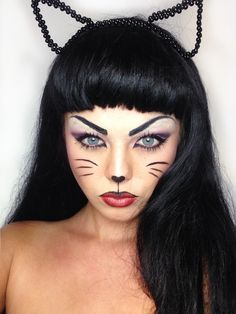 cat face makeup for halloween Cat Costume Makeup, Cat Halloween Makeup, Halloween Contacts, Halloween Looks, Cat Costumes, Scarecrow Makeup, Sexy Cat Costume, Halloween Halloween, Kitty Face Paint