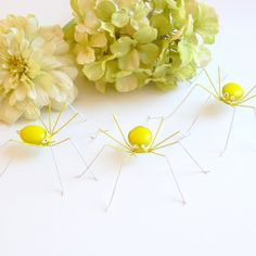 Three 3 inch Hanging Yellow Green Spiders by SpiderwoodHollow