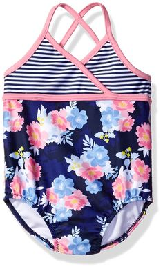 AmazonSmile: Nautica Girls' Stripe Floral Print One Piece Swimsuit: Clothing