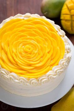 mango cake is bursting with fresh mango flavor! An impressive, show-stopping mango cake recipe with only 9 ingredients. It is surprisingly simple. Mango Dessert Recipes, Delicious Desserts, Recipes With Mango, Food Cakes, Cupcake Cakes, Mango Mousse Cake, Mango Cupcakes, Mango Chiffon Cake Recipe, Mango Cheesecake