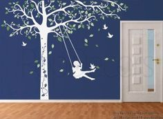 Kids Room: Amazon.com: Custom Color PopDecors - Tree Decal with Swing Girl - removable vinyl art wall decals stickers decal sticker mural: Home & Kitchen
