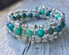 Agate And Glass Multi Strand Memory Wire Bracelet With Matching Bead Dangles - Armband Memory Wire Jewelry, Memory Wire Bracelets, Woven Bracelets, Cute Bracelets, Handmade Bracelets, Charm Jewelry, Beaded Jewelry, Jewlery, Bangles