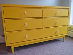painted yellow dresser