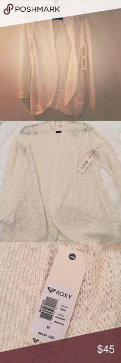 Roxy lightweight cream cardigan size M Very comfortable and warm considering lightweight, 93% Cotton, 7% Nylon, brand new never worn Roxy Sweaters Cardigans