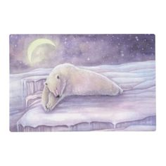 Sleeping Polar Bear Wildlife Fantasy Art Placemat - animal gift ideas animals and pets diy customize