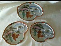 Vintage Japanese Sushi Sake Tea Plates Gold Trim TT Handpainted