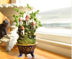 Miniature Trees for Fairy Gardens | Miniature Fairy Houses on the Hill - Blue Porcelain ... | Fairy Garden