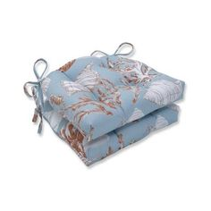 Pillow Perfect Indoor Cape Cod Reef Reversible Chair Pad (Set of 16 in. W X 4 in. D (Cape Cod Reef), Blue - Medium (Cotton, Tropical) Tropical Chairs, Chair Ties, Outdoor Lounge Chair Cushions, Perfect Pillow, Toss Pillows, Indoor, Things To Sell, Christmas Central, Underwater