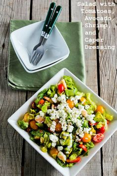 Recipe for Salad with Tomatoes, Avocado, Feta, Shrimp, and Caper Vinaigrette from Kalyn's Kitchen   #SouthBeachDietRecipes #LowGlycemicRecipes