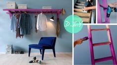 #DIY: Tem uma escada encostada sem utilidade no canto da lavanderia? Ou, uma que já ficou meio bamba e não dá mais para usar? Ao invés de jogá-la fora, transforme-a em uma arara única e cheia de personalidade! Você só vai precisar lixar, pintar da cor que preferir e colocar na parede! #Façavocêmesmo #Moda #ModanaWeb #Estilo #Reciclagem