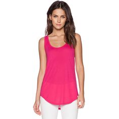 Michael Lauren Ray Side Insert Tank Tops ($43) ❤ liked on Polyvore featuring tops, tanks, michael lauren, pink tank, pink tank top and pink top