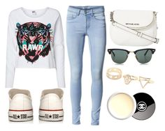 """RAWR GRR"" by amina-persie ❤ liked on Polyvore featuring ONLY, MICHAEL Michael Kors, Converse, Vero Moda, Ray-Ban, With Love From CA, Chanel, women's clothing, women and female"