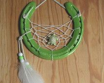 Horseshoe Dreamcatcher Beaded Feathers Turtle Western Wall Decor Lime Green Good Luck