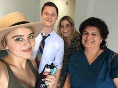 On set on Kevin From Work with Noah Reid, Jordan Hinson and Joanna Leeds