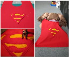 DIY Superhero Cape  The boys are totally into superheroes now. Everything is about good and evil, punching, kicking, web slinging, extra vision, etc. I lov...