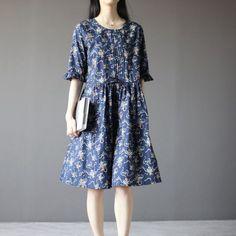 Blue floral cotton sundress plus size fit flare dress half sleeve Half Sleeve Dresses, Half Sleeves, Linen Dresses, Cotton Dresses, Boho Fashion, Womens Fashion, Sundresses, Handmade Clothes, Fit Flare Dress