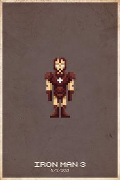Iron Man 3 Pixel Poster By slaterman23