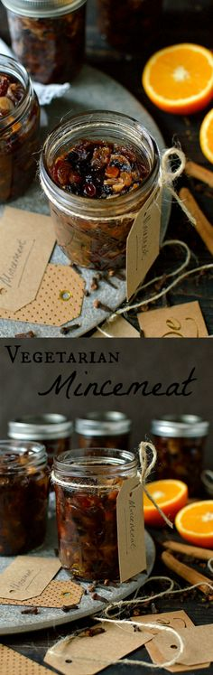 Vegetarian mincemeat recipe - an easy recipe for delicious home-made Christmas mincemeat made using butter so it is suitable for vegetarians. Vegan Desserts, Raw Food Recipes, Veggie Recipes, Sweet Recipes, Vegetarian Recipes, Dessert Recipes, Sangria, Minced Meat Recipe, Christmas Food Gifts