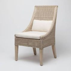 Macdonald Wicker Dining Chair With Seat And Back Upholstered Cushions Finish White Gray