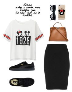 """Casual chic"" by fashionnero ❤ liked on Polyvore featuring Manon Baptiste, Uniqlo, Puma, Fendi and Casetify"