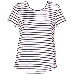 HARD TO BEAT Black and White Striped T-Shirt (51 CAD) ❤ liked on Polyvore featuring tops, t-shirts, black white striped t shirt, stripe top, black and white t shirt, striped t shirt and black and white stripe t shirt