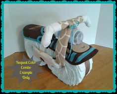 Diaper Cake  Diaper Motorcycle  Baby Shower Gift by 2CuteDesignsLS, $50.00