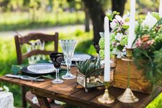 Wedding decor. Table for the newlyweds outdoor. Wedding reception.
