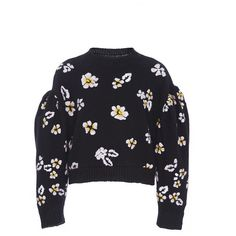 Rebecca Taylor Floral Balloon Sleeve Sweater (13 310 UAH) ❤ liked on Polyvore featuring tops, sweaters, black, drop shoulder sweater, flower print tops, balloon sleeve top, rebecca taylor tops and rebecca taylor sweater