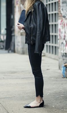 Love this leather jacket and flats