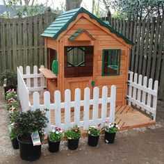 backyard playhouse idea.... LOVE the fence. Rachael Rabbit #outdoorplayhouseplans #buildachildrensplayhouse #diyplayhouse