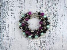 Cha cha bracelet Black purple cluster bracelet Cluster jewelry