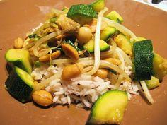 Zucchini, Mushroom and Peanut Curry with Spiced Basmati Rice