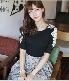 Black Simple Slim Fit Mid Length sleeve Blouse with Antique White Appliqu? Details 1