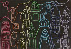 1A 1B: Krassen van droomstad naar Hundertwasser, regenboogkleuren in vetkrijt bedekt met zwarte plakkaatverf gemengd met afwasmiddel.