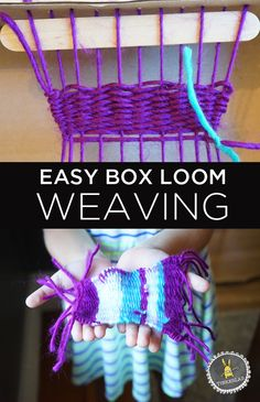 No-fail step by step instructions for making a simple box loom weaving with kids or beginner adults. Grab a box, yarn, scissors, and needle to get started! You too can make horrible looking useless things with fiber! Weaving Projects, Arts And Crafts Projects, Projects For Kids, Crafts For Kids, Art Activities For Kids, Art For Kids, Preschool Activities, Weaving For Kids, Yarn Crafts