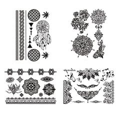 COKOHAPPY Black Lace Temporary Tattoo , 4 Different Sheets Henna Fake Jewelry , Dream Cathcher Mandala Lotus >>> Learn more @