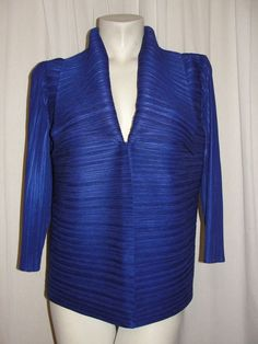 travelers Collection by CHICOS Jacket Blue Crinkle 3/4 Sleeve Cardigan Size 2 L #Chicos #BasicJacket #BusinessEvening