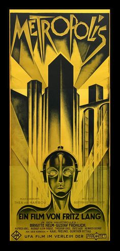 Wonderful Art Deco posters promoting Fritz Lang's 'Metropolis'. They don't make 'em like this any more.