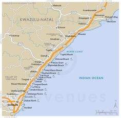 Dolphin Coast basic street map showing main roads and the location of attractions in and around Dolphin Coast, KwaZulu Natal . Kwazulu Natal, North Coast, South Africa, African, Map, Google Search, Beach, Holiday, Vacations